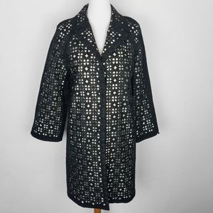 Elie Tahari Long Wool Blend Jacket Eyelet